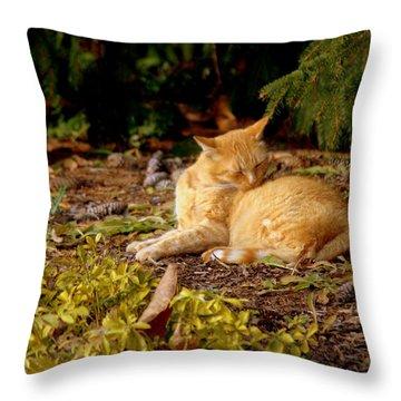 Bathing In The Garden Throw Pillow