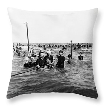 Bathing In The Gulf Of Mexico - Galveston Texas  C 1914 Throw Pillow