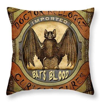 Throw Pillow featuring the digital art Bats Blood by Nada Meeks