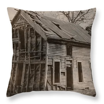 Battered And Leaning Throw Pillow