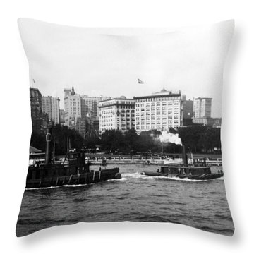 Battery Park And Lower Manhattan New York City - C 1904 Throw Pillow by International  Images
