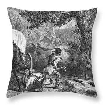 Battle Of Bloody Brook 1675 Throw Pillow by Photo Researchers
