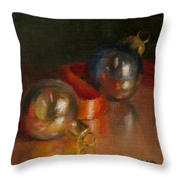 Baubles And Ribbon Throw Pillow by Debbie Lamey-MacDonald