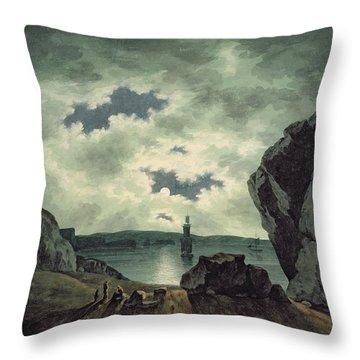 Bay Scene In Moonlight Throw Pillow by John Warwick Smith