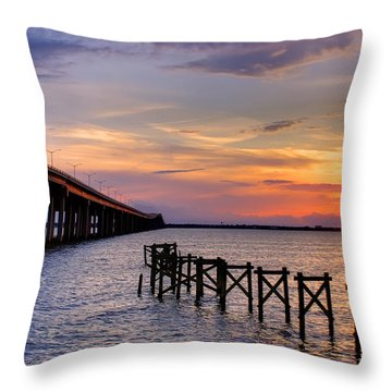 Bay St. Louis Sunset Throw Pillow by Brian Wright