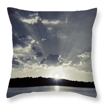Bay Sunset In Bw Throw Pillow by Justin Connor