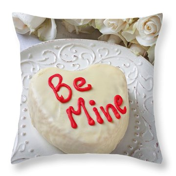 Be Mine Heart Cake Throw Pillow by Garry Gay