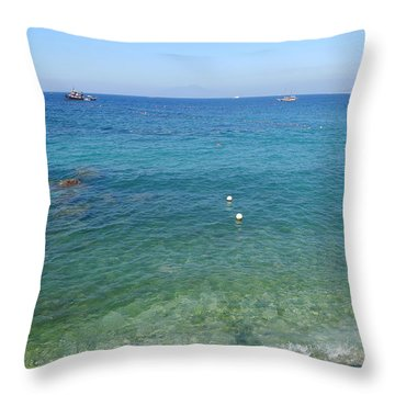 Throw Pillow featuring the photograph Beach - Capri by Nora Boghossian