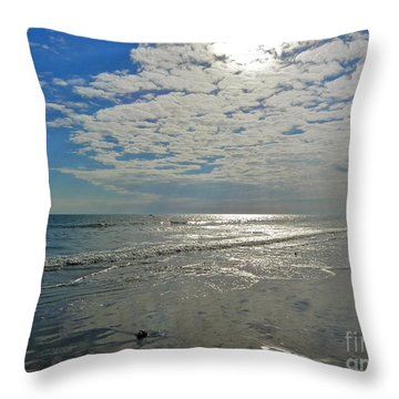 Throw Pillow featuring the photograph Beach At Dawn by Eve Spring
