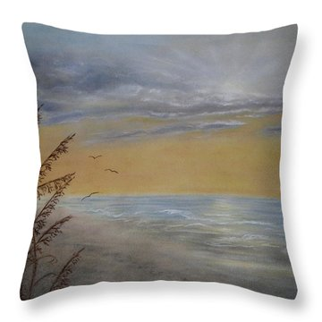 Throw Pillow featuring the painting Beach At Dawn by Kathleen McDermott