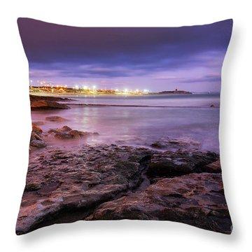 Beach At Dusk Throw Pillow by Carlos Caetano