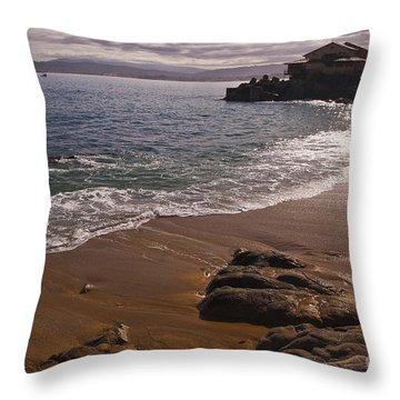 Beach At Monteray Bay Throw Pillow by Darcy Michaelchuk