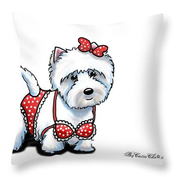 Beach Babe Westie Throw Pillow