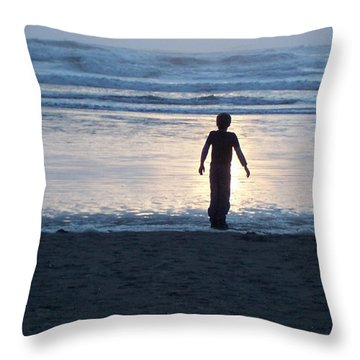 Beach Boy Silhouette Throw Pillow by Peter Mooyman