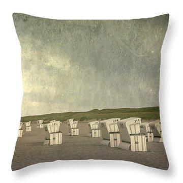 Beach Chairs Throw Pillow by Joana Kruse