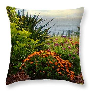 Throw Pillow featuring the photograph Beach Garden by Mary Timman