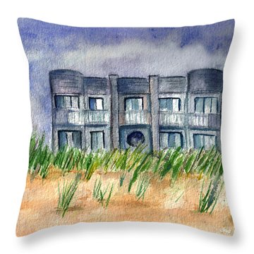 Throw Pillow featuring the painting Beach House by Clara Sue Beym