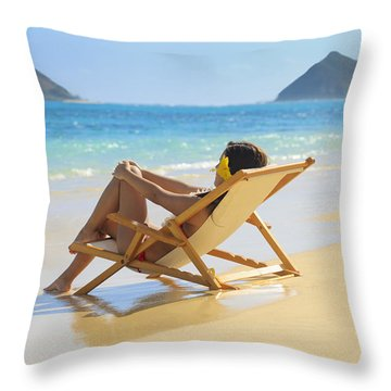 Beach Lounger II Throw Pillow by Tomas del Amo