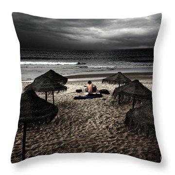 Beach Minstrel Throw Pillow by Carlos Caetano