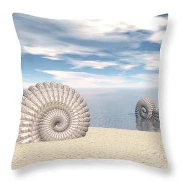 Throw Pillow featuring the digital art Beach Of Shells by Phil Perkins
