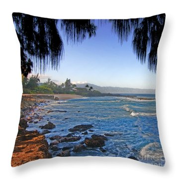Beach On North Shore Of Oahu Throw Pillow