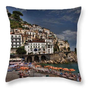 Beach Scene In Amalfi On The Amalfi Coast In Italy Throw Pillow by David Smith