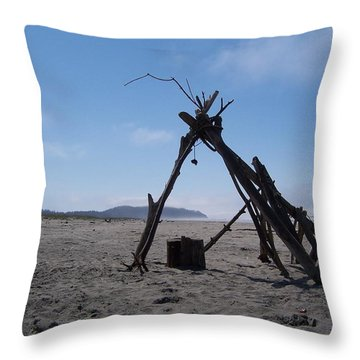 Beach Shelter Skeleton Throw Pillow by Peter Mooyman