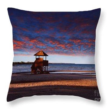Beach Sunset Throw Pillow by Ms Judi
