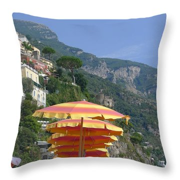 Beach Umbrellas - Positano Throw Pillow by Nora Boghossian