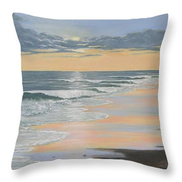 Throw Pillow featuring the painting Beach Walk Reflections by Kathleen McDermott