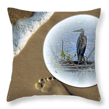 Beached Heron Throw Pillow by Sue Stefanowicz