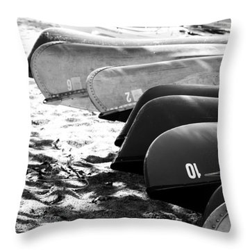 Throw Pillow featuring the photograph Beached Kayaks by Julia Wilcox