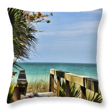 Beachgoers'dock Throw Pillow