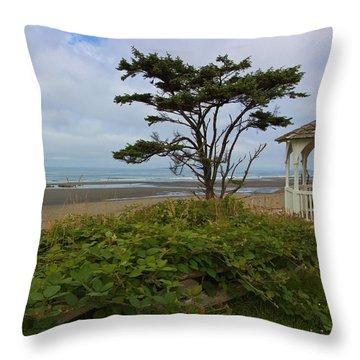 Beachside Gazebo Throw Pillow by Heidi Smith