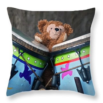 Throw Pillow featuring the photograph Bear And His Drums At Walt Disney World by Thomas Woolworth