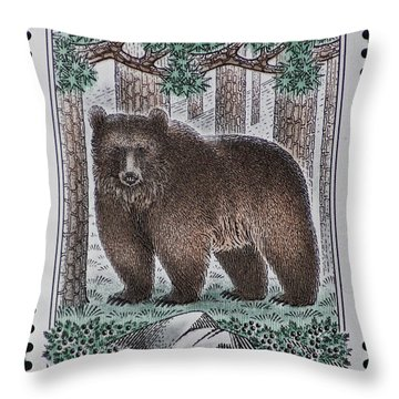 Bear Vintage Postage Stamp Print Throw Pillow