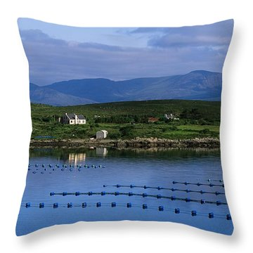 Beara, Co Cork, Ireland Mussel Farm Throw Pillow by The Irish Image Collection