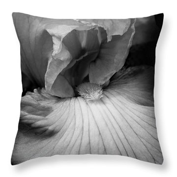 Bearded Iris Flower Black And White Throw Pillow by Jennie Marie Schell