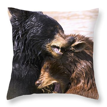 Bears In Water Throw Pillow by Carson Ganci
