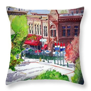Throw Pillow featuring the painting Beau Jo's by Tom Riggs