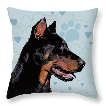 Beauceron Throw Pillow by One Rude Dawg Orcutt