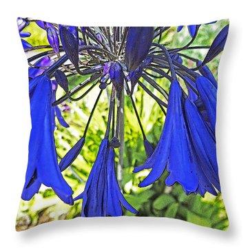 Throw Pillow featuring the digital art Beautiful Bluebells Close-up by Anne Mott