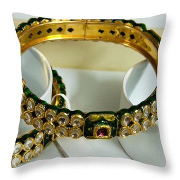 Beautiful Green And Purple Covered Gold Bangles With Semi-precious Stones Inlaid Throw Pillow by Ashish Agarwal