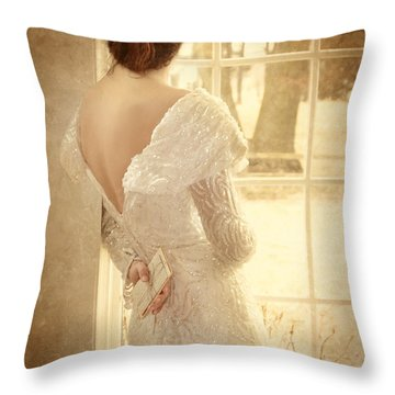 Beautiful Lady In Sequin Gown Looking Out Window Throw Pillow by Jill Battaglia
