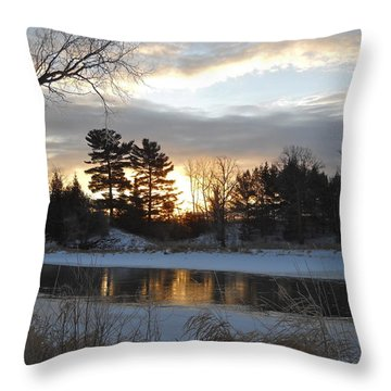 Beautiful Winter Dawn Throw Pillow by Kent Lorentzen