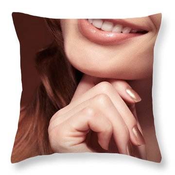 Beautiful Young Smiling Woman Mouth Throw Pillow by Oleksiy Maksymenko