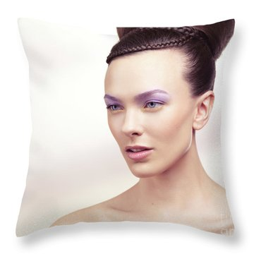 Beautiful Young Woman Portrait Throw Pillow by Oleksiy Maksymenko