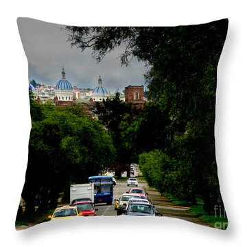 Beauty Of Avenida Solano In Cuenca Throw Pillow by Al Bourassa