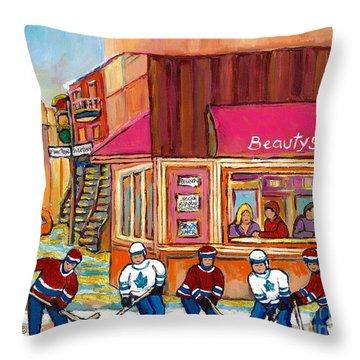 Beauty's Restaurant-montreal Street Scene Painting-hockey Game-hockeyart Throw Pillow by Carole Spandau
