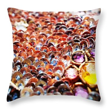 Bed Of Sequins Throw Pillow by Sumit Mehndiratta